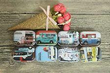 8pcs Mini Empty Tinplate Tin Metal Container Small Storage Box Car Style