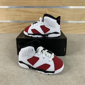Nike Jordan 6 Retro (TD) Sneakers White Carmine Black Toddlers Size 7c NEW