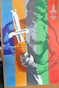 Rare Russian Original 1980 Moscow Olympics Games Poster