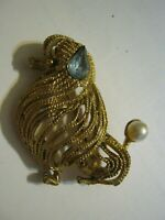 """Seated Show Poodle 1 3/4"""" Brooch, Golden Roped Fur, Pearl Pom Pom Tail, Blue Ear"""