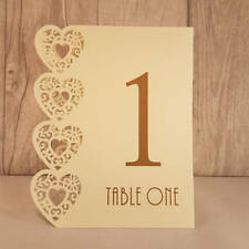 Ivory Wedding Table Numbers, 1-15, Laser Heart Design, Standalone NEW