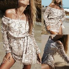 Women Summer Sequin Casual Long-Sleeve Evening Party Cocktail Short Mini Dress .