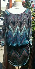 Plus size blouson mini dress/tunic,blue,zigzag pattern, size 1X,made in USA,