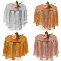 Large Sequins Round Table Cover Cloth Wipe Clean Party Tablecloths Tableware NEW