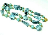 Fabulous Vintage Czech grey marbled satin givre & faux turquoise glass necklace