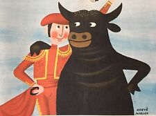 1954 Herve Morvan Bull Fighter Color Advertising Print Ad Adolph's Meat
