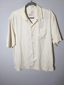 Tommy Bahama silk mens ivory white button up shirt size M short sleeve