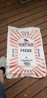 Lot of 2 Vintage Wayne Feeds Woven Sack 100lbs antique feed sack eco tote lot