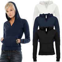Womens Ladies Hoody Hooded Sweatshirt Top Pullover Jumper Hoodie Slim Fit V Neck