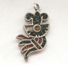 Unusual Native American 925 Silver Abstract Red Green Turquoise Pendant Retro 3g