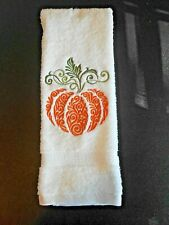 Pumpkin Embroidered Hand Towel (Home Embroidered)