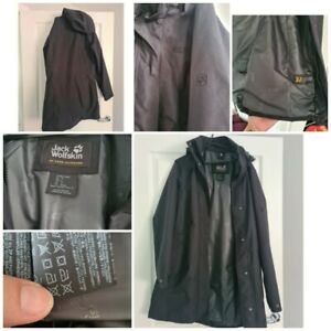 Womens Jack Wolfskin Size 12 Black Coat  3 In 1 System Fab Condition