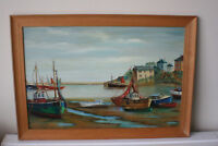Original Landscape Seaside Boat House Oil Painting on Board - Framed - Signed