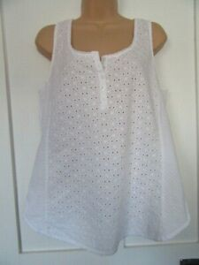 FAT FACE WHITE BRODERIE ANGLAISE COTTON TOP 3/4 SLEEVELESS U.K SIZE 12