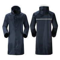 Mens Long Waterproof Hooded Lightweight Rain Coat Outdoor Jacket L-4XL