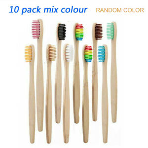 10 pcs Natural Bamboo Handle Rainbow Toothbrush Eco-friendly Tooth Brushes Kit