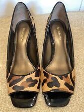 Liz Clayborne Leather Hyde Leopard Print Wedge Peep Toe
