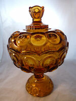 "Vintage Moon & Stars 10"" Amber Compote W/Lid L.E.Smith/L.G. Wright VGC"