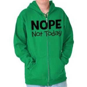 Nope Not Today Satan Funny Novelty Humor Adult Zip Hoodie Jacket Sweatshirt