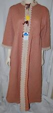 Vintage Mauve Rose Hose Robe 50s Cream Lace Trim XL Quilted Dress Ribbons New