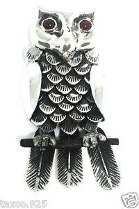 IGNACIO GOMEZ TAXCO MEXICAN 950 STERLING SILVER OWL PENDANT PIN MEXICO
