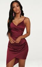 Pretty Little Thing NWT NEW ASOS Nasty Gal Burgundy Red Wrap Satin Dress 10 L