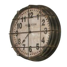 Retro Industrial Round New York Subway Metal Cage Wall Clock Vintage Style