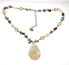 Cookie Lee Genuine Turquoise Crystal Bead Necklace Mother of Pearl Pendant