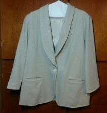 Stephanie Queller Beige Wool Jacket Fully Lined Size 18W No Labels Front Pockets