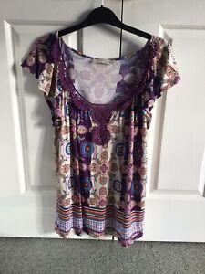 Lush - Ladies Purple Multicoloured Smock Style Top