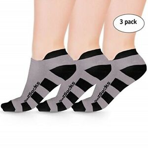 3pack Go2 Low Compression Running Socks Anti-Blister Breathable No Show Sm-Lg