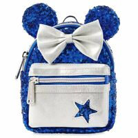 Disney Loungefly Minnie Mouse Wishes Blue Mini Backpack Wristlet