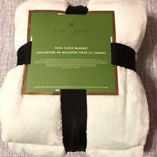 "Kate Spade New York Twin Fleece Blanket Pale Aqua 68"" x 90"" Soft Plush New"
