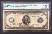 5 US Dollar USA USD schein Banknote Geldschein Banconota billet note 1914 PMG