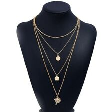 womens gold multi layered chain pendant statment necklace new