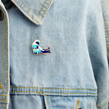 1PC Blue waves brooch Enamel Pin buckle Metal Brooch Coat Jacket Bag Badge EF