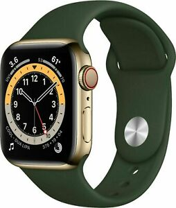 *Brand New Apple Watch Series 6 44mm Gold Stainless Steel CELL Cyprus Green Band