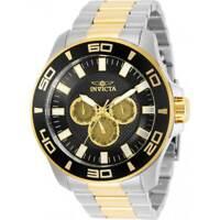 Invicta Men's Watch Pro Diver Quartz Black Dial Two Tone Bracelet 30786
