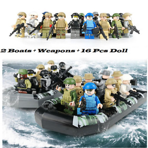 16 Pcs Minifigures Military Marines Soldiers SWAT 2 Boats Weapons Military LeGo