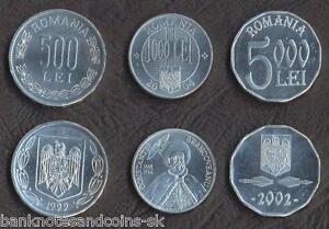 ROMANIA COMPLETE FULL ALUMINIUM COIN SET 500+1000+5000 Lei 2000-2004 UNC LOT 3