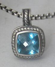 Authentic David Yurman Sterling Silver Pendant &Necklace Set Blue Topaz&diamonds