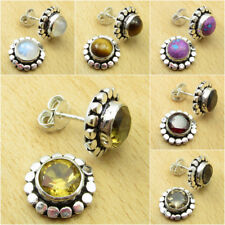 Yellow CITRINE & Other Stones, 925 Silver Plated STUD Earrings, Choice Of Color