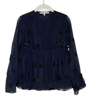 Paris Atelier + Other Stories Navy Chiffon Button Down Top I Crepe Blouse Sz 4
