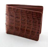 New Brown Alligator Crocodile Genuine Leather Slim Men Bi-fold Wallet.
