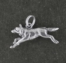 Wolf Charm Sterling Silver Pendant 3d Running Animal