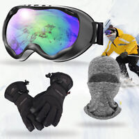 Double-Layer Snowboard Ski Goggles Wind Proof Waterproof Gloves Warm Skull Cap