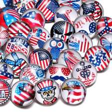 50pcs 18mm Snap Button American Theme Glass Charms For Snap Jewelry HM059