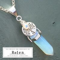 Costume Opalite Point & Tree Of Life Rainbow Moonstone Pendant Wicca Pagan boho