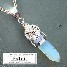 Silver Plated Opalite Point & Tree Of Life Rainbow Moonstone Pendant Wicca Pagan