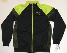 XL Boys Puma Track Jacket Black Neon Green Dry Cell 100% Polyester new youth NWT